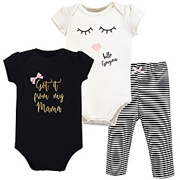 Little Treasure 3-Piece Mama Bodysuit and Pant Set in Black