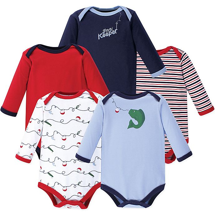 Alternate image 1 for Luvable Friends® 5-Pack Fish Long Sleeve Bodysuits in Red