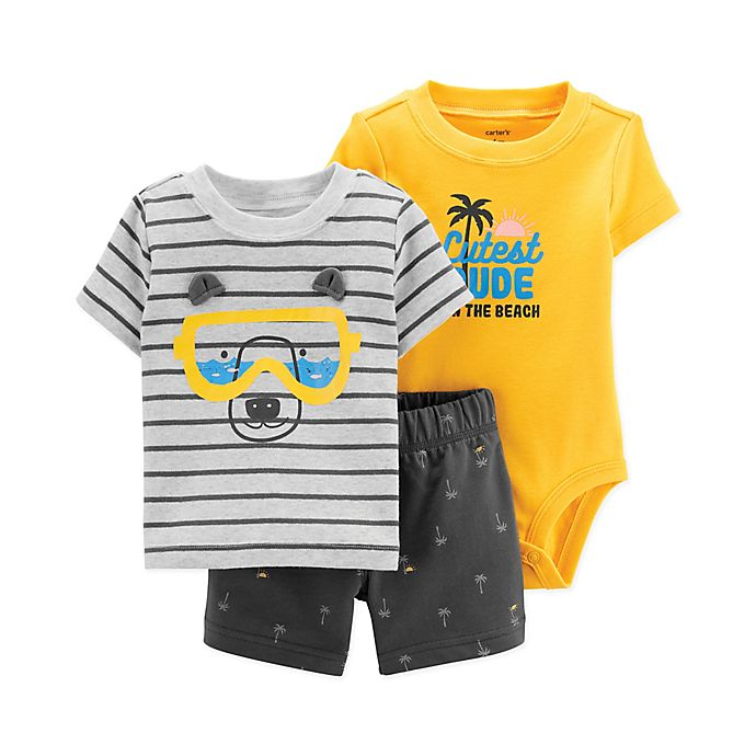 Alternate image 1 for Carter's® 3-Piece Snorkel Bear Bodysuit, Tee and Short Set in Grey