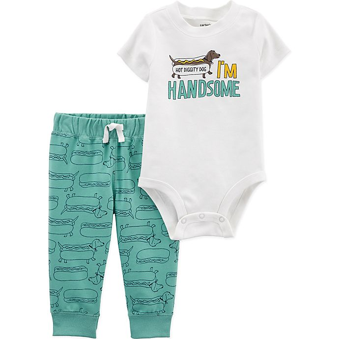Alternate image 1 for carter's® 2-Piece Hot Dog Bodysuit and Pant Set in Green
