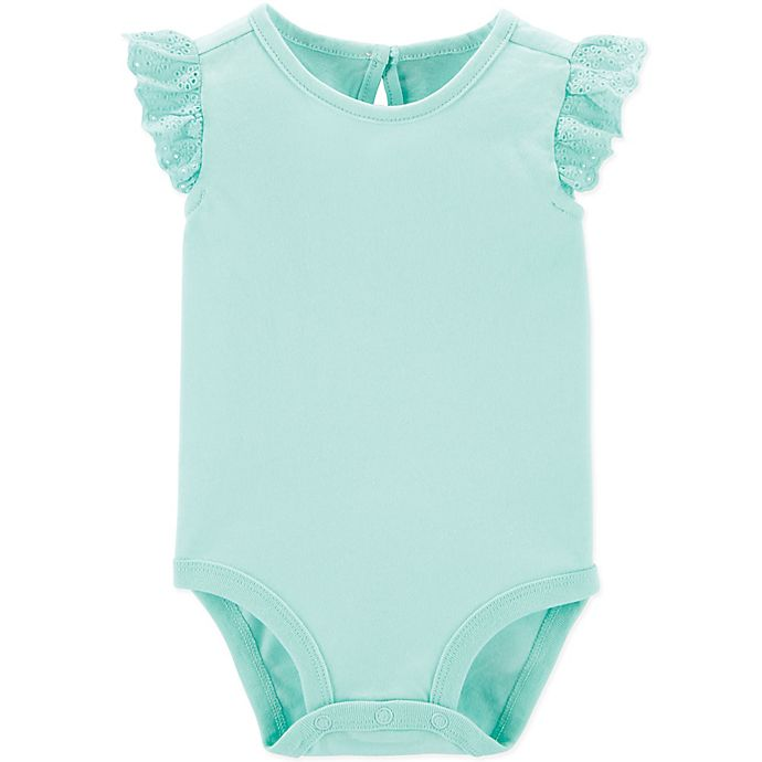 Alternate image 1 for OshKosh B'gosh® Eyelet Flutter Bodysuit in Aqua