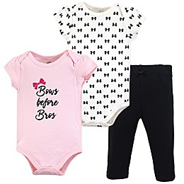 Little Treasure 3-Piece Bows Bodysuit and Pant Set in Black