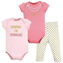 Little Treasure 3-Piece Sparkling Bodysuits and Pant Set