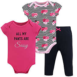 Little Treasure 3-Piece Sassy Pants Layette Set in Pink