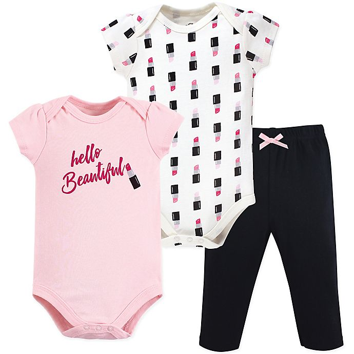 Alternate image 1 for Little Treasure 3-Piece Lipstick Layette Set in Pink