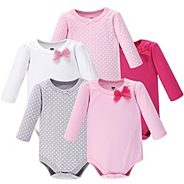 Hudson Baby® 5-Pack Bow and Dots Long Sleeve Bodysuits in Pink