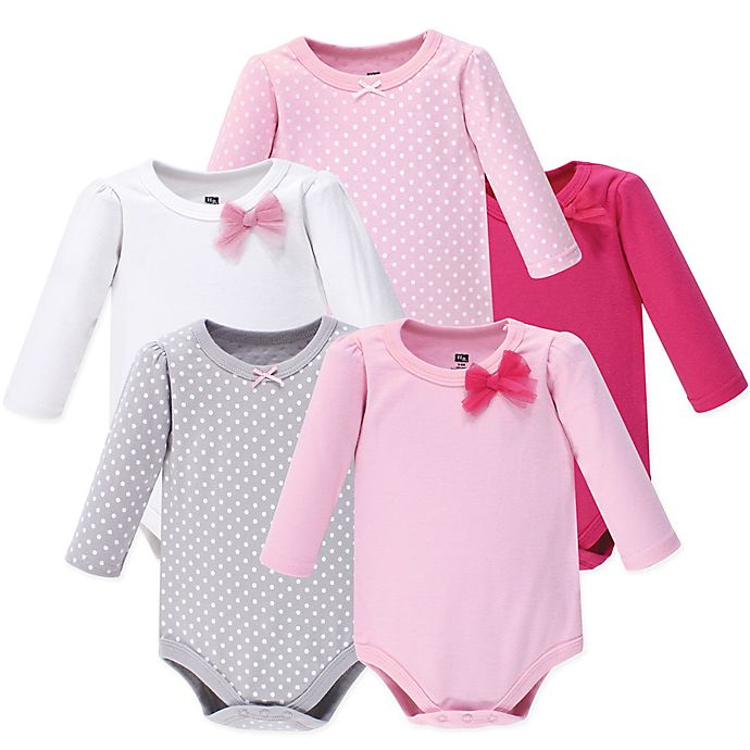 Alternate image 1 for Hudson Baby® 5-Pack Bow and Dots Long Sleeve Bodysuits in Pink
