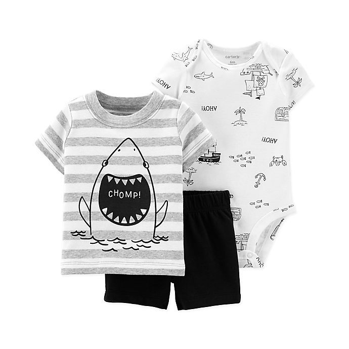 Alternate image 1 for carter's® 3-Piece Shark Bodysuit, Tee and Short Set in Grey/Black