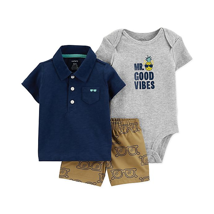 Alternate image 1 for carter's® 3-Piece Mr. Good Vibes Bodysuit, Polo Short and Short Set in Navy