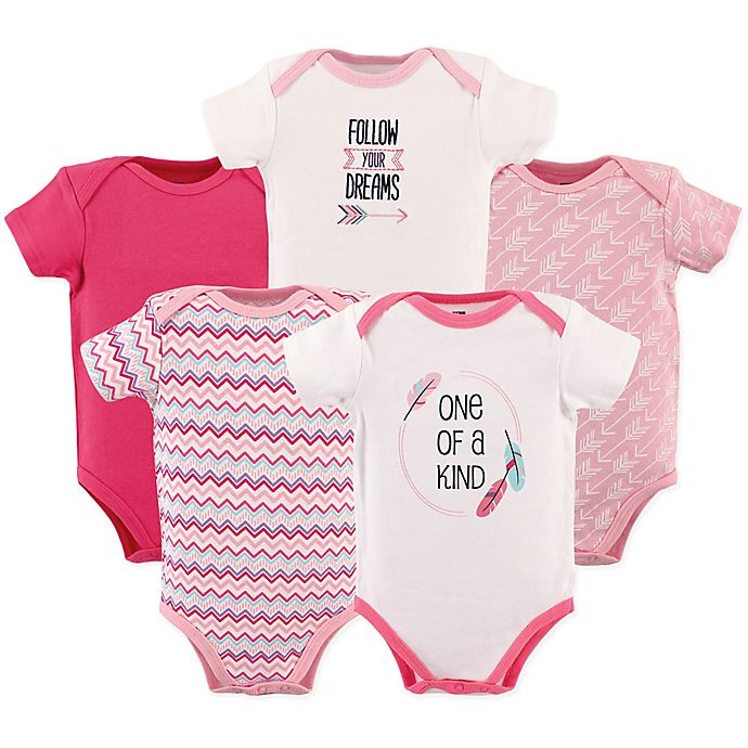 Alternate image 1 for Hudson Baby® 5-Pack Arrows Short Sleeve Bodysuits in Pink