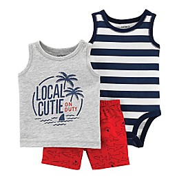carter's® 3-Piece Local Cutie Bodysuit, Tank and Short Set in Grey/Red