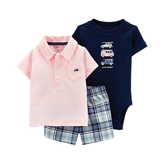 Alternate image 1 for carter's® 3-Piece Little Cruiser Bodysuit, Polo Short and Short Set in Pink/Navy