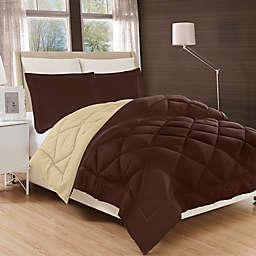 Luxury All Season Reversible 2-Piece Twin/Twin XL Comforter Set in Chocolate/Cream