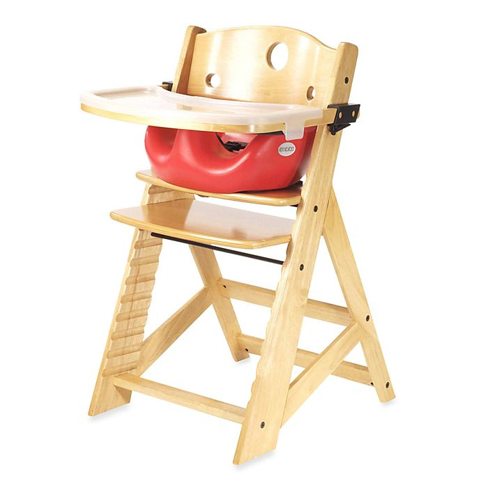 Alternate image 1 for Keekaroo® Height Right High Chair Natural with Cherry Infant Insert and Tray