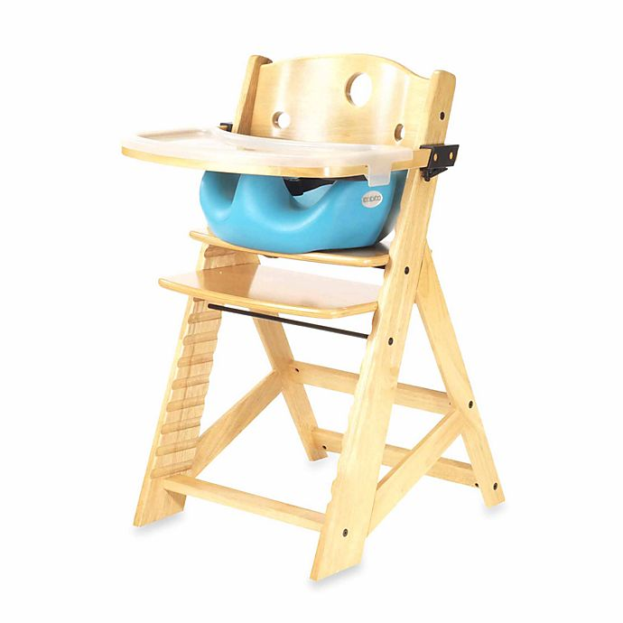 Alternate image 1 for Keekaroo® Height Right High Chair Natural with Aqua Infant Insert and Tray