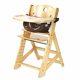Keekaroo® Height Right High Chair Natural with Chocolate Infant Insert and Tray