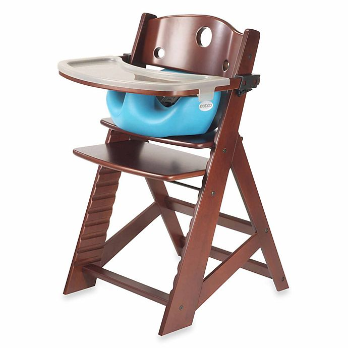 Alternate image 1 for Keekaroo® Height Right High Chair Mahogany with Aqua Infant Insert and Tray
