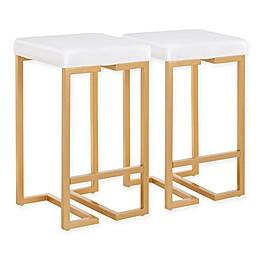 Lumisource® Velvet Upholstered Midas Bar Stools in White(Set of 2)