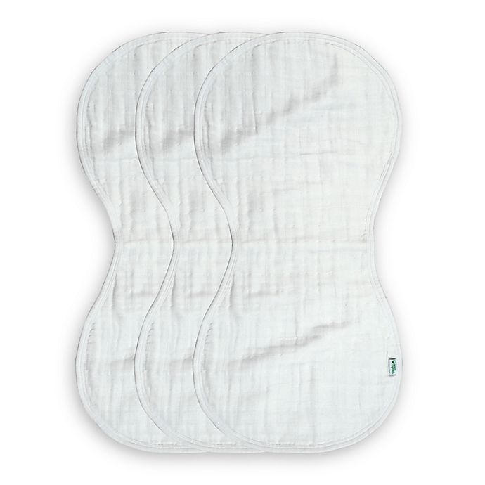 Alternate image 1 for green sprouts® 3-Pack Organic Muslin Size 0-12 Months Burp Cloth in White