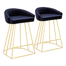 Lumisource® Velvet Upholstered Canary Bar Stools (Set of 2)