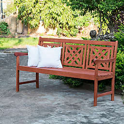 Vifah Malibu Plaid Patio Bench in Cherry