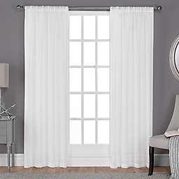 Belgian 84-Inch Rod Pocket Sheer Window Curtain in Winter White (Set of 2)