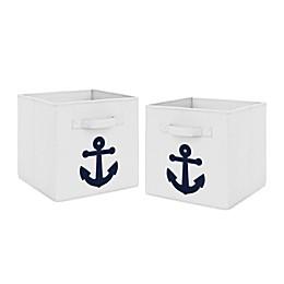 Sweet Jojo Designs Anchors Away Fabric Storage Bins in Navy/White (Set of 2)