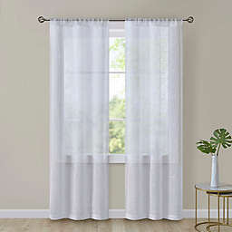 SALT™ Turin Leaf 2-Pack Rod Pocket Embroidered Sheer Window Curtain Panels