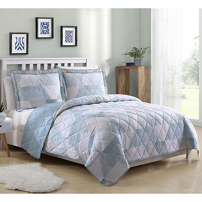 Alternate image 1 for Lemon & Spice Drake Geo King Quilt Set in Blue
