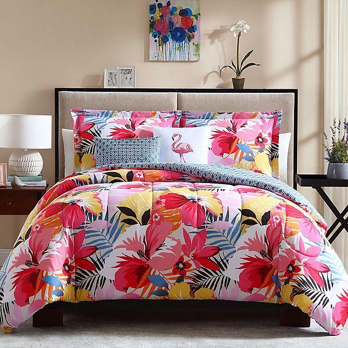 Alternate image 1 for Lanai Reversible Full/Queen Comforter Set in Pink