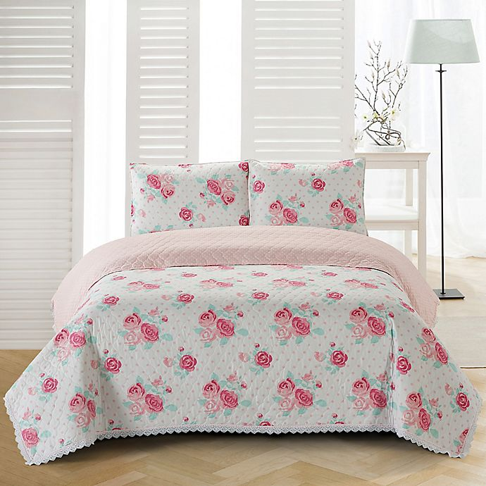 Alternate image 1 for Chloe Reversible Twin Quilt Set in Pink