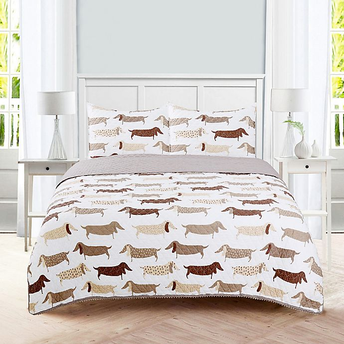 Alternate image 1 for Dachshund 3-Piece Reversible Quilt Set