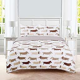 Dachshund 3-Piece Reversible Quilt Set
