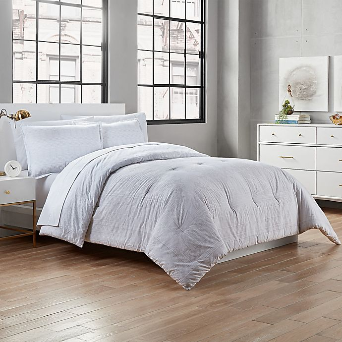 Alternate image 1 for Garment Washed Heather 3-Piece Full/Queen Comforter Set in Grey