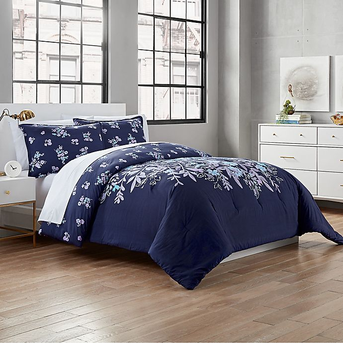 Alternate image 1 for Garment Washed Linnea 2-Piece Twin/Twin XL Comforter Set in Navy