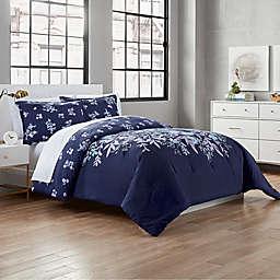 Garment Washed Linnea 3-Piece Full/Queen Comforter Set in Navy
