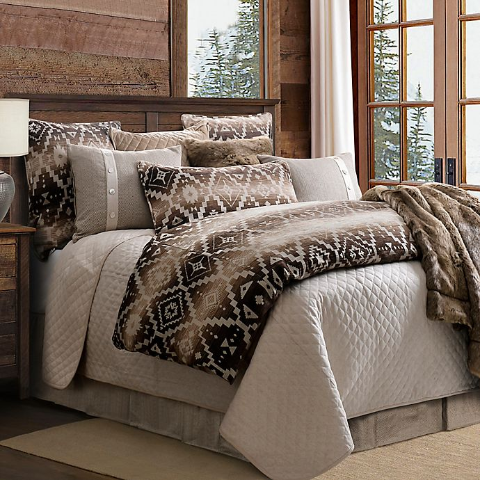Alternate image 1 for HiEnd Accents Aztec Chalet Reversible King Comforter Set in Brown