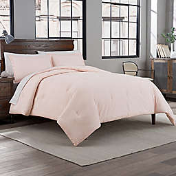 Garment Washed Solid King Comforter Set in Pink