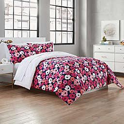 Garment Washed Valerie 3-Piece Full/Queen Comforter Set in Navy/Pink