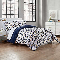 Garment Washed Valerie 3-Piece Full/Queen Comforter Set in Navy/Yellow