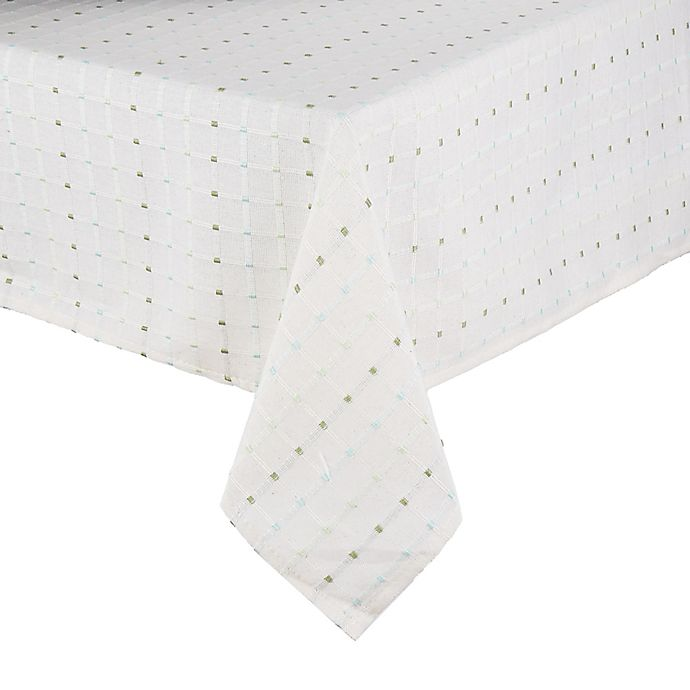 Alternate image 1 for Saro Lifestyle Cousu 70-Inch Square Tablecloth in White