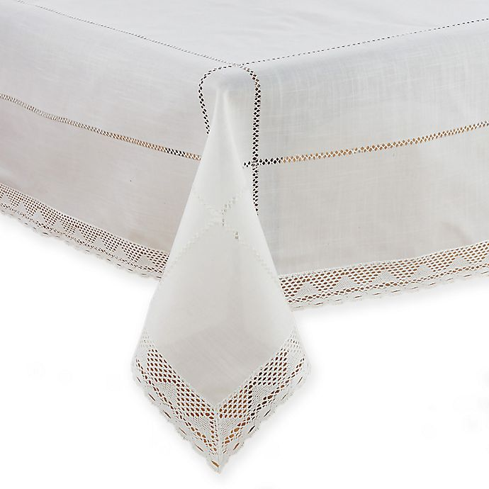 Alternate image 1 for Saro Lifestyle Dorothy 72-Inch x 104-Inch Oblong Tablecloth in White