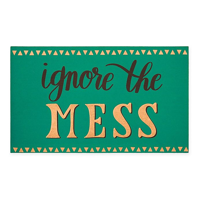 Alternate image 1 for Mohawk Home® Elegant Entry 18-Inch x 30-Inch Ignore Mess Rubber Door Mat in Teal/Gold