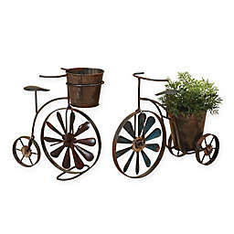 Gerson® 2-Piece Tricycle Planter Set in Brown