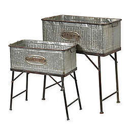 Gerson Rectangular Galvanized Metal Planters (Set of 2)