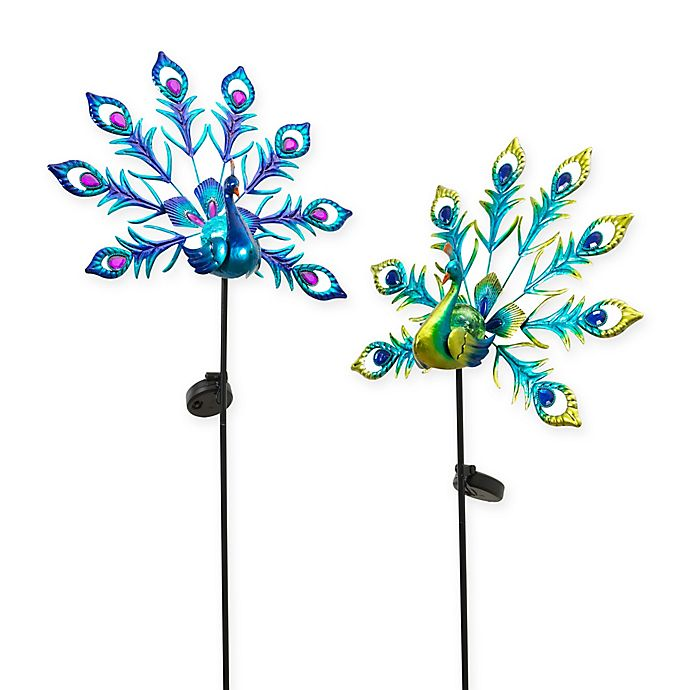 Alternate image 1 for Gerson Solar Powered Peacock Yard Stakes (Set of 2)