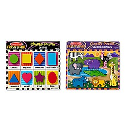 Melissa & Doug® Safari and Shapes Chunky Wooden Puzzles (Set of 2)