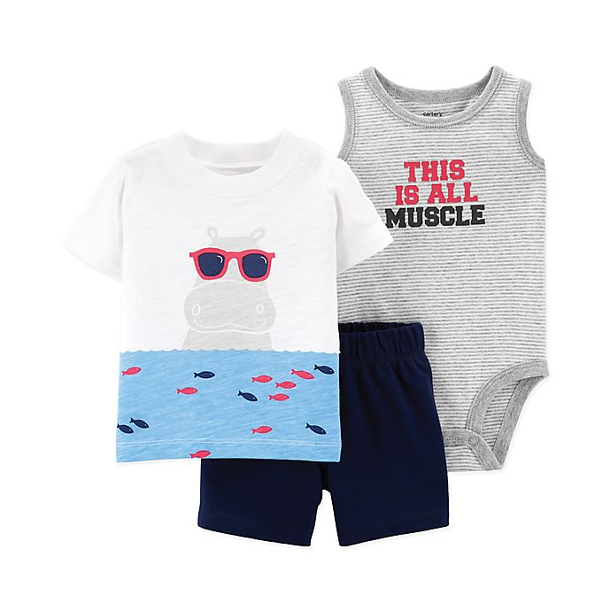 Alternate image 1 for carter's® 3-Piece Hippo Bodysuit, Tee and Short Set in White