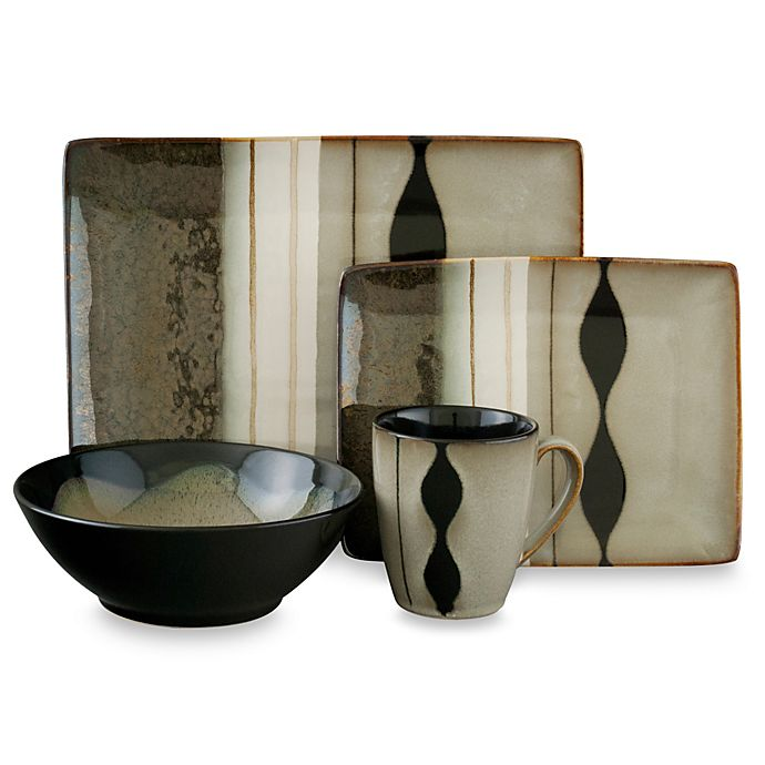 Alternate image 1 for Sango Prelude Black 16-Piece Dinnerware Set