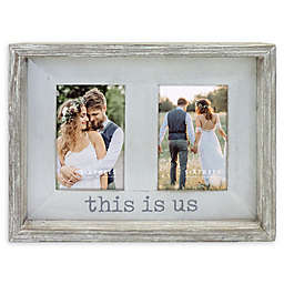 Sixtrees Two-Photo 4-Inch x 6-Inch This Is Us Rustic Farmhouse Frame in Grey/White